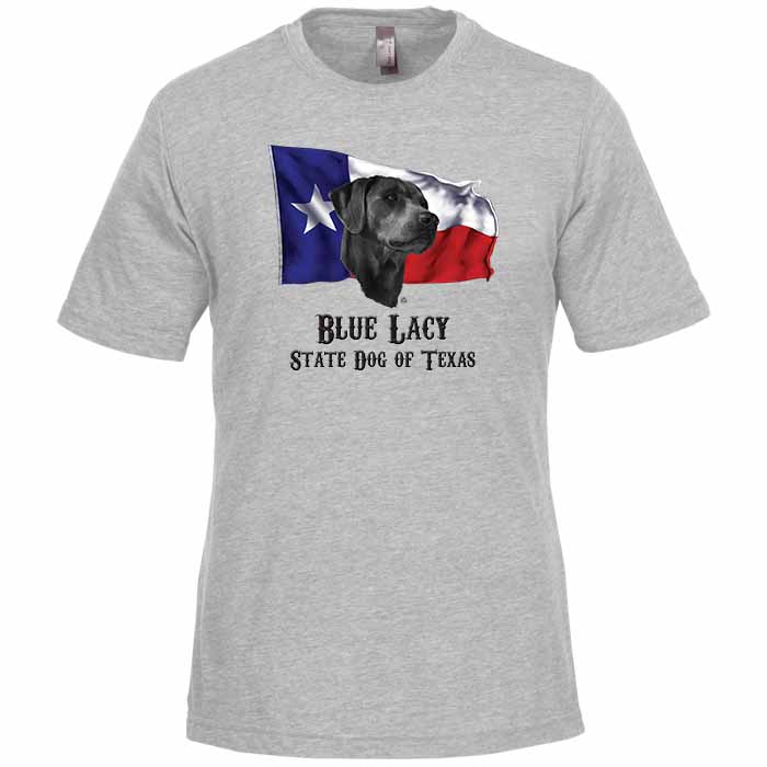 Blue Lacy Dog PPR's Jessie on State Dog of Texas T-shirt Over the Texas Flag